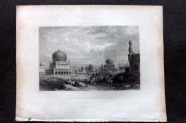 Fisher (Pub) 1844 Antique Print. Tombs of the Kings of Golconda
